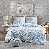 URBAN HABITAT Halsey 3tlg. Floral Bettwäsche Set in Stickerei-Look Bettgarnitur Blütenmuster Modern Doppelbett Navy, 200x200cm+80x80cm