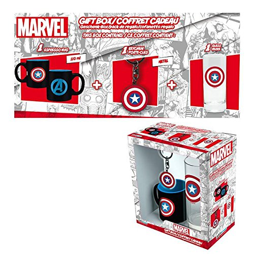 Close Up Geschenkbox/Geschenkset Captain America Schild Logo – 3-teilig (Glas, Tasse, Schlüsselanhänger)