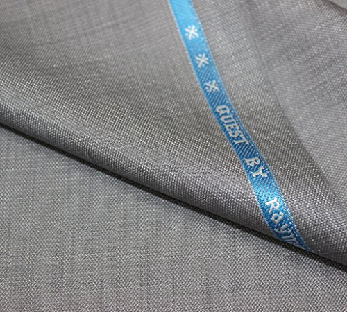 Raymond Men\'s Poly Cotton Trouser Fabric(ray_qu_gr_1.25_light_Grey_1.25 meters)
