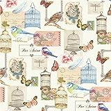 Muriva - Papel Pintado Lujoso con Jaulas de Pájaro Pájaros Mariposas, Flores y Tarjetas Postales - J51112
