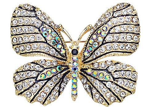 SaySure - Butterfly Brooch Pin Crystal Rhinestone Beautiful (Rainbow Bowling-pins)