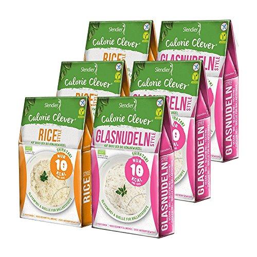 6 x Slendier Bio Konjak Nudeln | Probierpaket Energie | 3 x Glasnudel-Style 250 g + 3 x Rice-Style 250 g | Shirataki Nudeln | Bio-Qualität