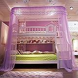 U corte tipo litera mosquitero cama dosel, Carril tipo Niños Mallas para las camas de cucheta 50d cifrado cuenta hilo mosquito cortina-morado 120x250x260cm(47x98x102inch)