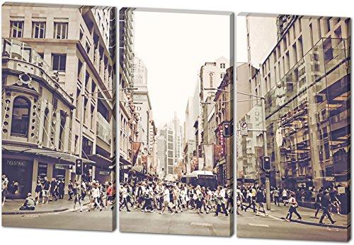 City Life, Gemälde Effekt, schönes und hochwertiges Leinwandbild zum Aufhängen in XXL - 3 Teiler mit 120cm x 80cm, echter Holzrahmen, effektiver Pigmentdruck, modernes Design für Ihr Büro oder Zimmer