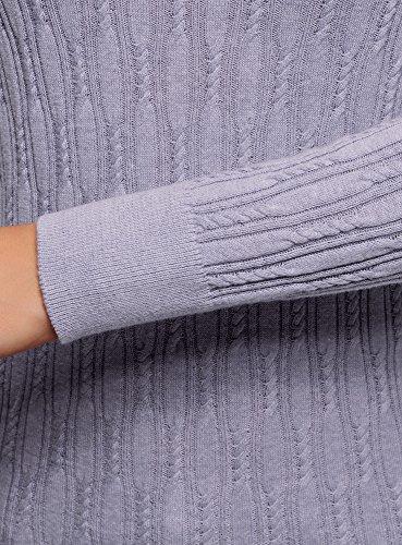 oodji Ultra Damen Strukturierter Strickpullover mit Rundhalsausschnitt. Violett (8000M)