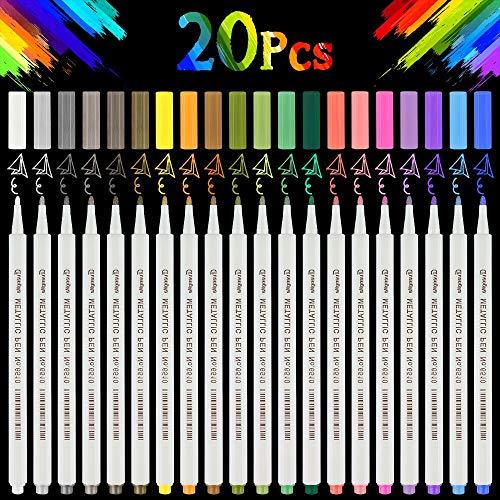 Metallic Marker Stifte Set, Nasharia 20 Farben Permanent Brush Pen für DIY Fotoalbum, Metallischen Stift Pens für Gästebuch Hochzeit, Scrapbook, zum Bemalen Stein, Keramik, Glas, Holz (1MM)