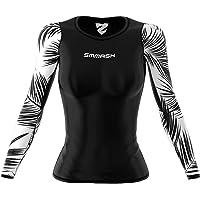 SMMASH Black Palm Sportiva Magliette Donna Manica Lunga, Yoga, Crossfit, Camicia Funzionale Top da Palestra, Gym Home…