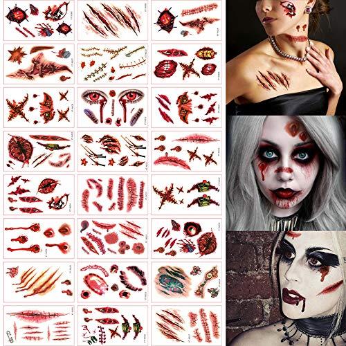 Kungfu Mall Tatuajes temporales 24 Piezas Halloween