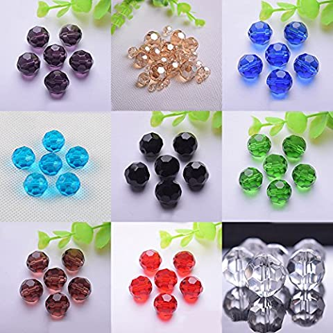 10mm 100pcs Round Faceted Crystal Bead Loose Glass Jewellery Making Beads for Necklace