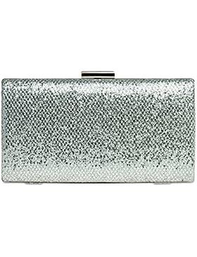 CASPAR TA340 elegante Damen Glitzer Box Clutch Tasche
