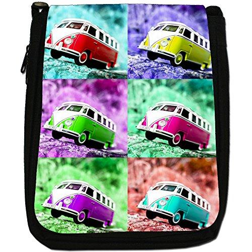 Scena Camper-Borsa a tracolla in tela, colore: nero, taglia: M Nero (Pop Art Camper Van Scene)