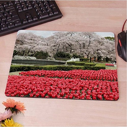 Preisvergleich Produktbild schöner Garten mit roten Blumen Mauspad Anti-Rutsch, Wasserfest 220x180 Veredeln Sie Ihren Schreibtisch mit diesem eleganten Mauspad