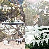 Demiawaking Schöne Spitze Wimpeln Girlande, Spitze Fahnen ,Wimpelkette für Hochzeit Dekoration Draußen Geburtstagsfei