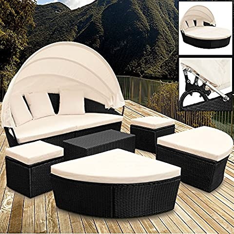 Poly Rattan Sun Day-Bed Garden Furniture with Table and Canopy Black Outdoor Patio Sofa Lounger Set