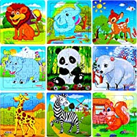VIGEIYA Kids Wooden Puzzles for Toddlers 2-5ages Zoo Animal Educational Toys Pack of 9