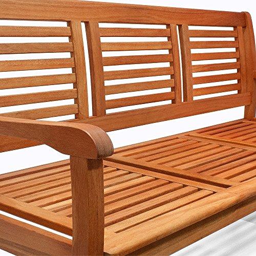 Holzbank Sitzbank Gartenbank Parkbank Balkonbank Bank 3 Sitzer ✔FSC®-zertifiziertes Eukalyptusholz ✔ergonomisch ✔witterungsbeständig ✔153cm x 90cm x 60cm - 2