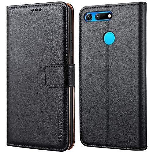 Peakally Huawei Honor View 20 Hülle, Premium Leder Tasche Flip Wallet Case [Standfunktion] [Kartenfächern] PU-Leder Schutzhülle Brieftasche Handyhülle für Huawei Honor View 20-Schwarz