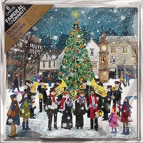Cartes de Noël caritatives (Alm9303)–Laiton–Groupe dans la neige–Lot de 8cartes–Vendu en direction de la multiple Sclerosis Trust