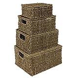 Natural junco marino cestas de almacenamiento rectangular cajas cestas con tapas