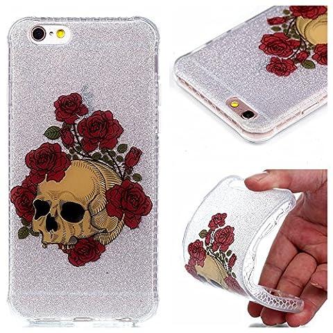 Pour iPhone 6 6S (4,7 Zoll) Coque, Fanryn étui en cuir TPU Silicone Shell Housse Coque étui Case Cover Cuir Etui Housse de Protection Coque Étui coque housse etui case cover iPhone 6 6S (4,7 Zoll) –Rose squelette