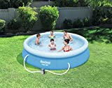 Bestway 12 ft x 30 Inch Fast Set Round Inflatable Family Swimming Pool Complete Set