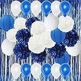 HappyField blanco azul marino azul globos de fiesta globos de aire azul papel de la cortina de tela Pom Pom linternas de papel para azul marino fiesta de papel de la boda de papel guirnalda, decoración de la ducha nupcial decoración de la ducha de bebé