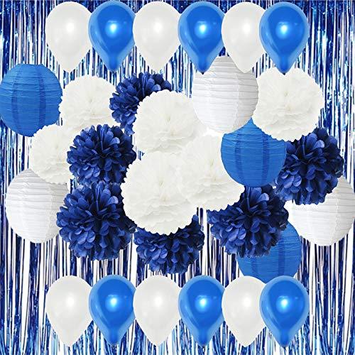 HappyField Weiß Navy Blue Party Luftballons Air Ballons Blue Folie Vorhang Tissue Pom Pom Papierlaternen für Marineblau Motto Party Hochzeit Papier Girlande, Bridal Shower Decor Baby Shower Dekoration