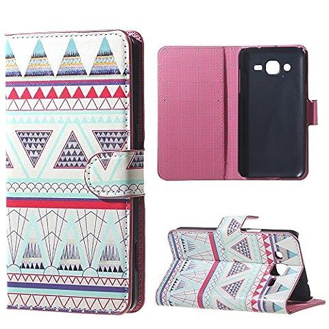 Housse Samsung J3 Cuir Coque Galaxy J3 Case étui de Portefeuille Protection Pour Samsung Galaxy J3 2016 Etui en Cuir Flip Cover (Rose tribal)