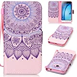 Samsung J3 Case SmartLegend Samsung Galaxy J3 2015/2016 Version Cover Strap Leather Wallet Case Colorful Arting Painting Pattern Design PU Bumper with Magnet Closure and Card Slots Holster Stand Function Smartphone Protective Case -Mandala Floral