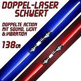 tevenger 2 Stück Doppellichtschwert Doppellaserschwert Lichtschwert Schwert LED Licht Sound 138 cm blau rot