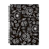 Mobicture Primitive Symbols Wire Bound Spiral Notebook by Paper Plane Design. Designer covers combined with Unruled sheets inside.Notebook / notepad / memo pad / composition notebooks / office stationery / school supplies / diary (Freshly printed and super fast shipping)