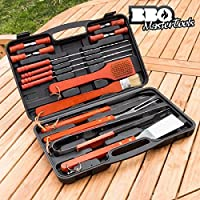 BBQ Master Tools - Maletin para barbacoas, color negro, (18 piezas)