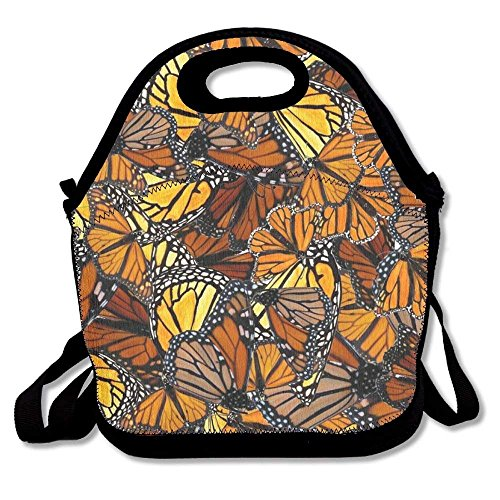 Insane Creation Orange Monarch Butterflies Lunch Bag Lunch Tote Lunchbox Handbag Reusable for Adult,Kids,Insulated,Stretchy,Reusable,Washable,Zipper,School Work Office Camping Travel Monarch Japan