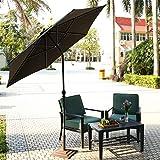 OUTCAMER Sombrilla de Jardín de Inclinación Ajustable Diámetro de 2.75M Parasol de Protección Solar UV de Playa, Patio, al Aire libre, Negro
