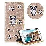 Moiky Diamond Etui Portefeuille pour iPhone Se,Strass Étui à Rabat pour iPhone 5S,Ultra Mince Élégant Mignon Panda Gold Briller Supporter Cuir Clapet Pochette Coque avec Flex Soft TPU