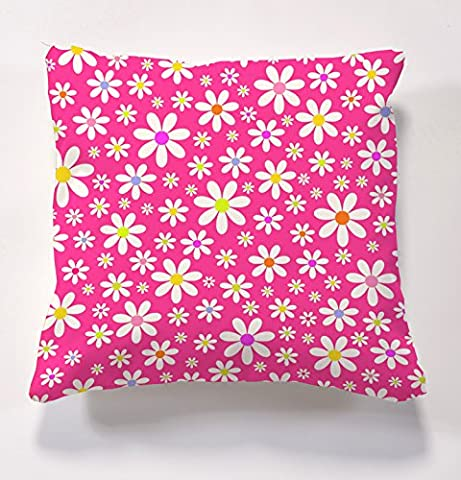 Garden cushions, Scatter cushions complete with cushion inserts, Digitally printed cushions, colourful daisy cushions, perfect for indoors and outdoors (Pink)