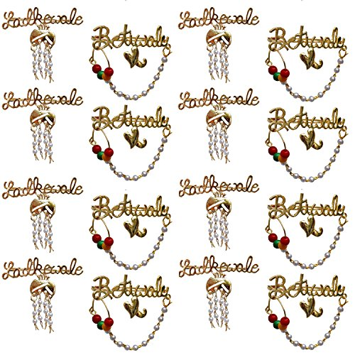 Lucky Jewellery Trendy Ladkewale Betiwale Gold Plated Wedding Brouch/Brooches Pin Pack of 16 for Men & Women (1488-COMBO-BETIWALE-LADKEWALE-16)