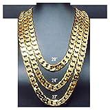 Collar cadena oro 9MM 24 K moda joyería diamante corte cierre sólido Miami cubano enlace Hip Hop verdadero regalo.