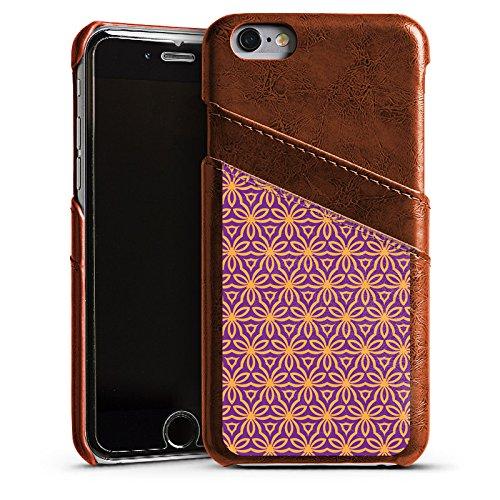 Apple iPhone 5s Housse Étui Protection Coque Fleurs Fleurs Effet d'optique Étui en cuir marron