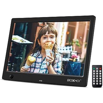 """Beschoi Cadre Photo Numérique 10,1"""" IPS 1024x600 16 : 9 avec Télécommande et Detecteur de Mouvement Horloge MP3 Réveil Calendrier"""