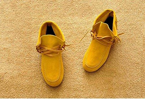 Wealsex Bottes Plates Suédé Automne Hiver Tassel Lacets Boots Femme Taille 33-43 jaune fourré intérieur