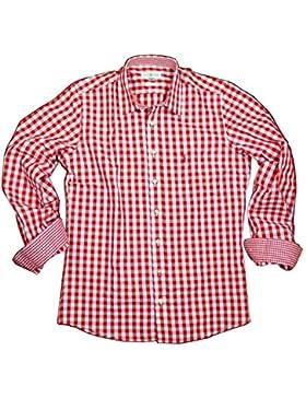 Almsach Herren Trachtenhemd Slim Fit Baumwolle Bügelfrei Langarm mit Krempelärmeln Figurbetontes Hemd zur Lederhose...
