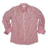ALMSACH Herren Trachtenhemd Slim Fit Baumwolle Bügelfrei Langarm mit Krempelärmeln Figurbetontes Hemd zur Lederhose oder Jeans kariert Rot Weiß Gr.: S ( 37/38 )