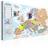 Arte de la Pared Incado Mapa Europa Junta Pin Vintage Impresion en Lienzo Negro Enmarcado 80x116 cm