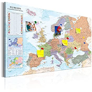 Luckies of london corkboard map self adhesive map with pins murando world map with pinboard xxl120x80 cm print on canvas beaverboard canvas decorative print on canvas and practical pinboard to pinching gumiabroncs Image collections