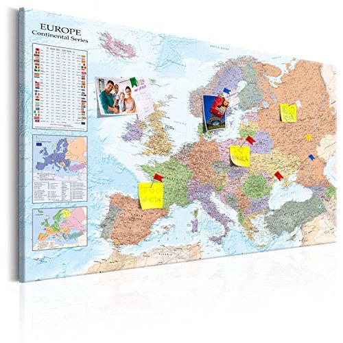 murando - Weltkarte Pinnwand & Vlies Leinwandbild 120x80 cm 1 Teilig Kunstdruck modern Wandbilder XXL Wanddekoration Design Wand Bild - Landkarte Lernkarte Europa k-A-0136-v-a