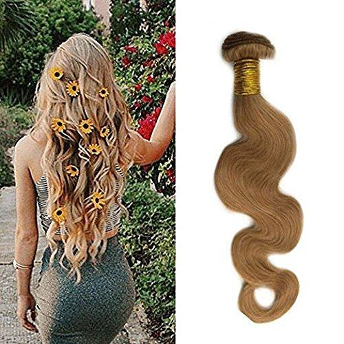 Ugeat 20 Zoll Echte Haare Extensions Body Wave Echthaar Naturlich Extensions Farbe Karamell Blondine Brasilianische Echthaar Tressen Haarverlangerung 100g #27