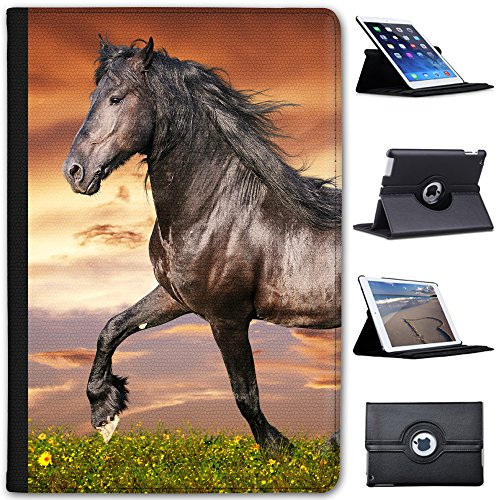 61VOyFOFR6L BEST BUY #1Black Friesian Horse Trotting Faux Leather Case Cover / Folio for the Apple iPad Mini 4 (Will ONLY fit the iPad Mini 4)