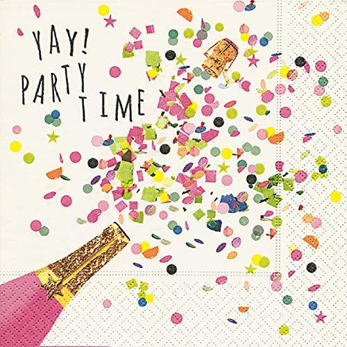 ietten (3er Set / 60Stück) 3-lagig 33x33cm Yay Party Time Silvester Fasching Karneval Geburtstag Jubiläum ()