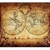 Carte du Monde Nautique Antique 1733 Tableau Impression sur Toile Affiche Décoration Murale...